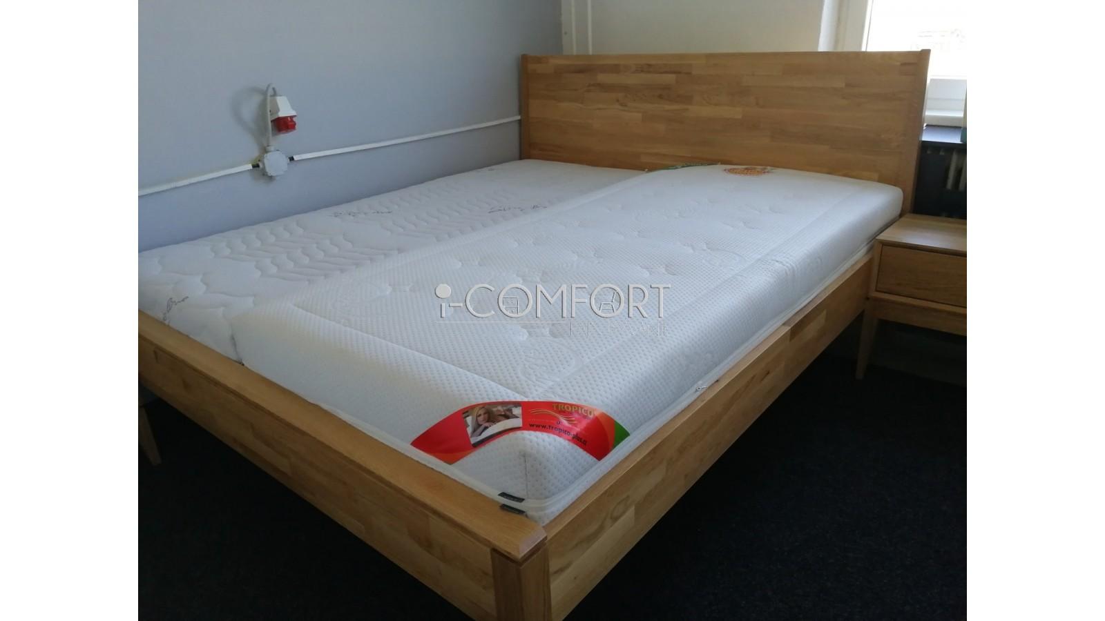 Masívna dubová manželská posteľ Lozzane 180/160/140 x 200 cm