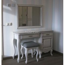 Dubový toaletný stolík Barcelona/Bilbao so zásuvkou a zrkadlom
