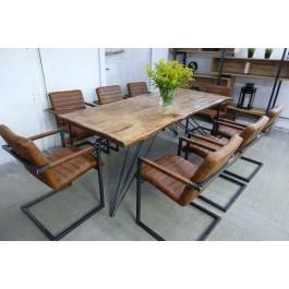 Industriál dubový stôl, nohy hviezda