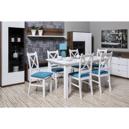 Bukový set č. 65, stôl + 6 x stolička
