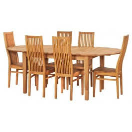 Dubový set č. 222,  6 x stolička + stôl